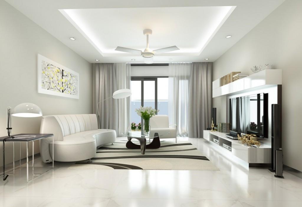 Tông màu trắng cho phòng khách